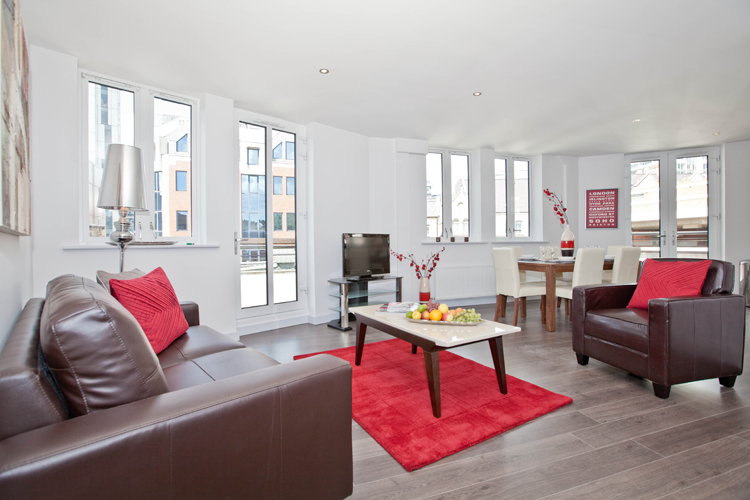 Living room at One Whites Row Apartments, Liverpool Street, London - Citybase Apartments