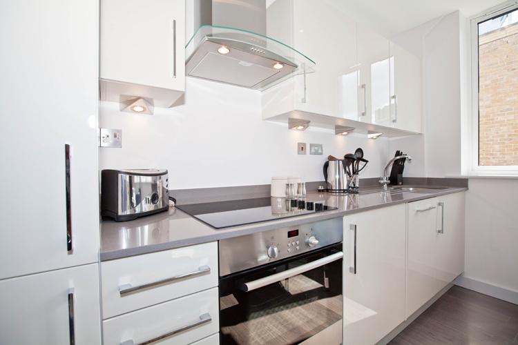 Kitchen at One Whites Row Apartments, Liverpool Street, London - Citybase Apartments