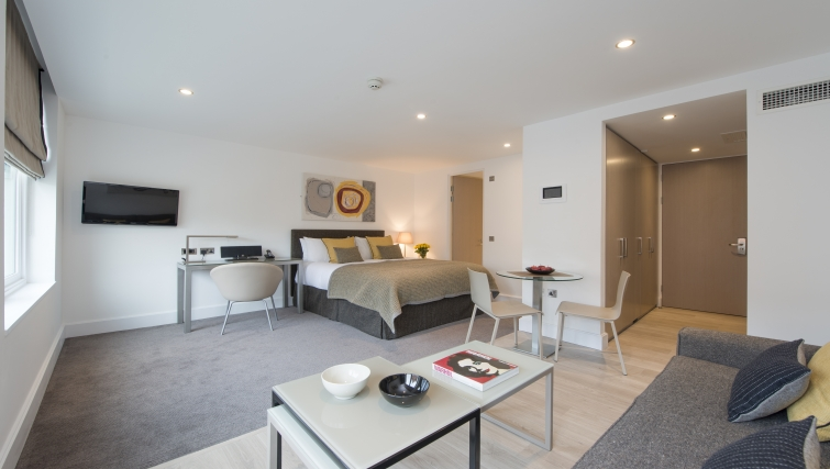 Contemporary living area in The Rosebery Aparthotel - Citybase Apartments