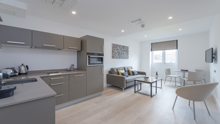Spacious living area in The Rosebery Aparthotel - Citybase Apartments