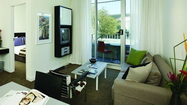 Modern living area in Adina Apartment Hotel Perth - Citybase Apartments