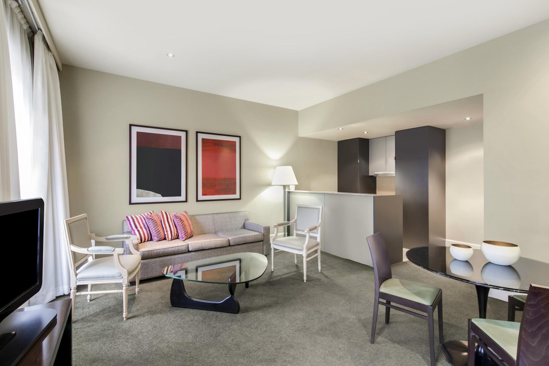 Living room at Adina Apartment Hotel Adelaide Treasury, Centre, Adelaide - Citybase Apartments