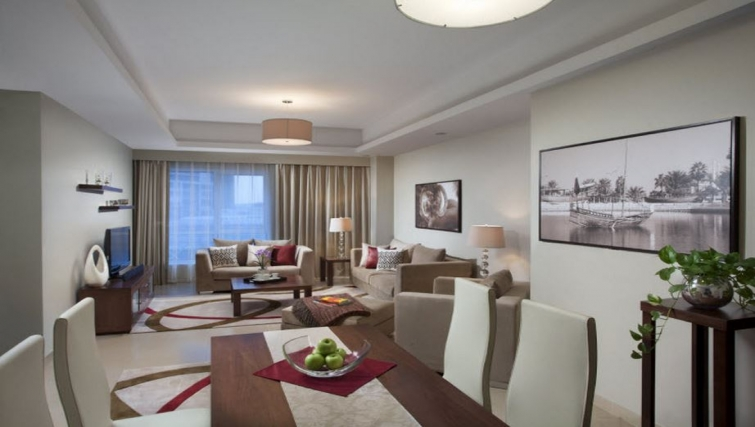 Inviting living area in Hyatt Residence Doha West Bay - Citybase Apartments