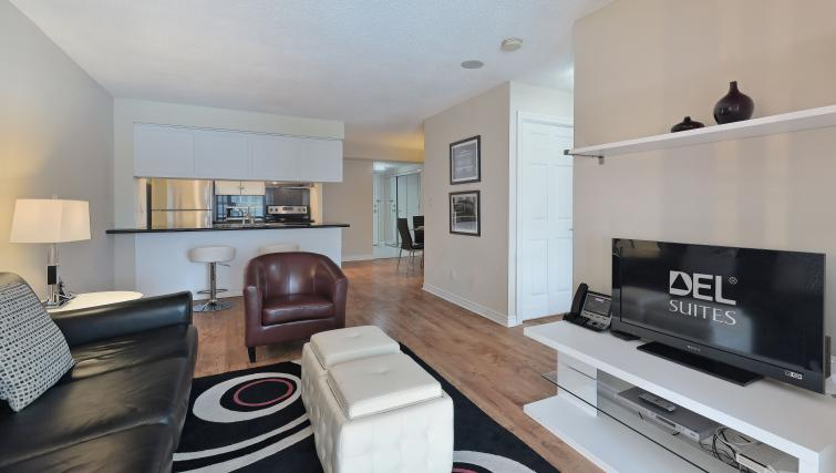 Living area at Qwest Apartments - Citybase Apartments