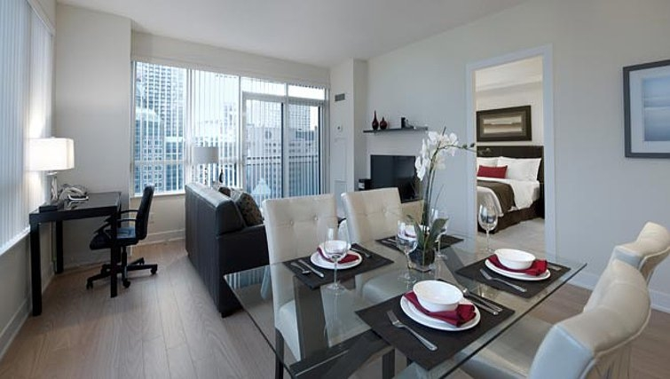 Contemporary dining area in James Cooper Mansion Apartments - Citybase Apartments