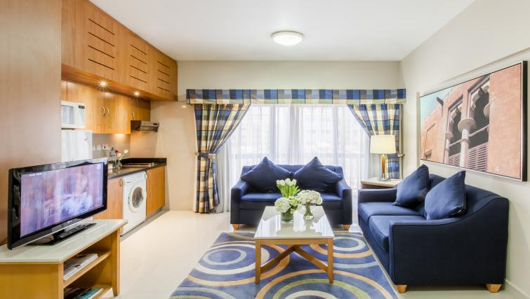 Colourful living area at Golden Sands Apartments - Citybase Apartments