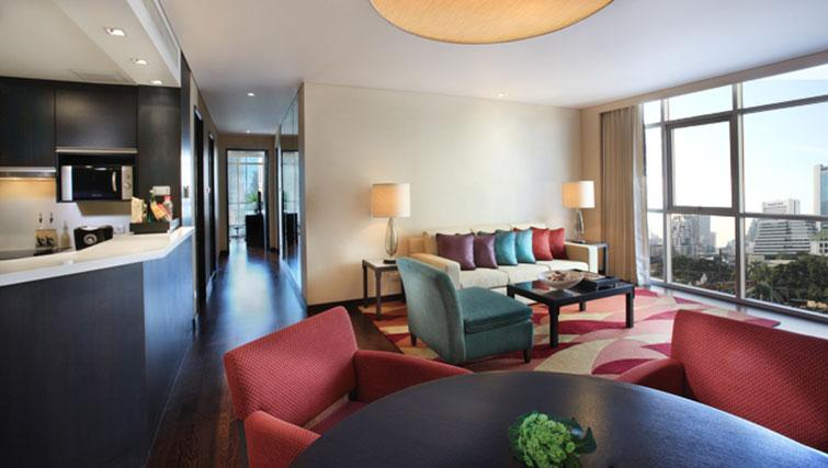 Modern living area at Marriott Executive Apartments Sathorn Vista - Bangkok - Citybase Apartments