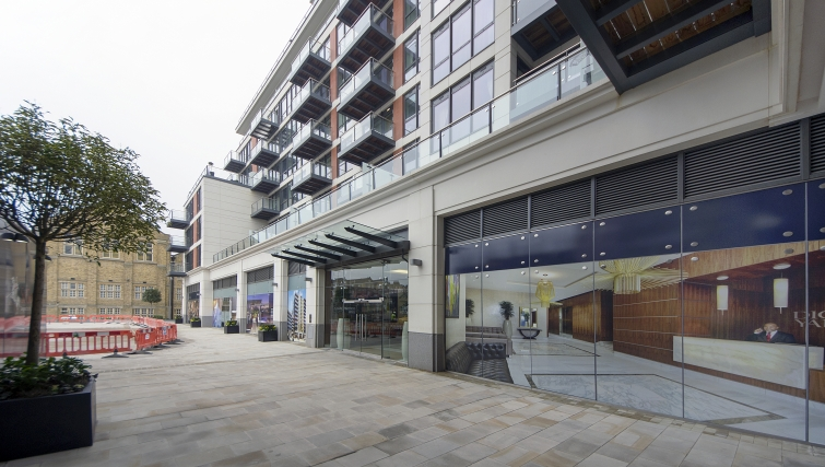 Grand exterior of Dickens Yard Apartments - Citybase Apartments