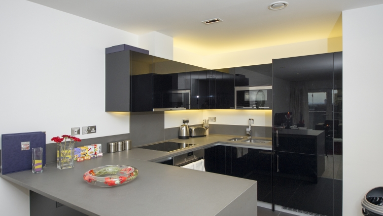 Stylish kitchen in Dickens Yard Apartments - Citybase Apartments