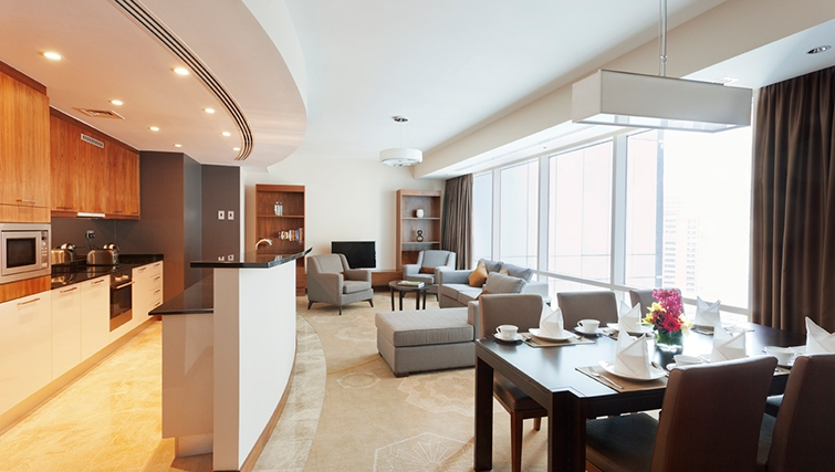 Open-plan living area at InterContinental Doha The City - Citybase Apartments