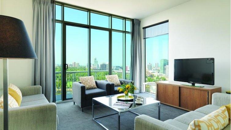 Executive living area at Adina Apartment Hotel Melbourne, Flinders Street - Citybase Apartments