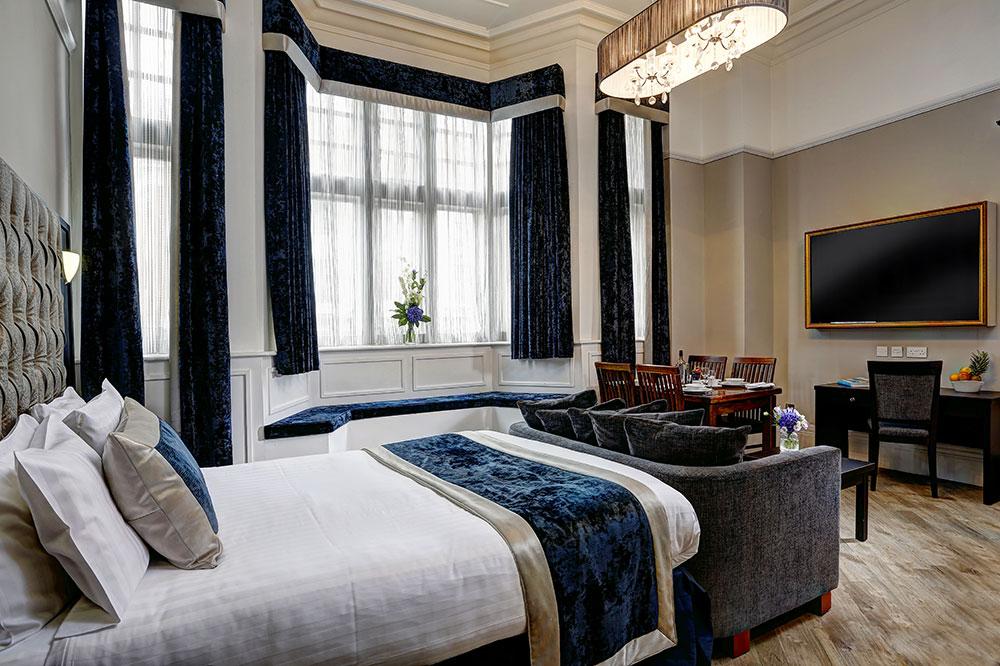 Big windows at Bedroom at  Richmond Liverpool Apartments - Citybase Apartments