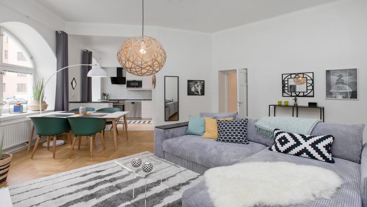 Spacious living area at Upplandsgatan Apartments - Citybase Apartments