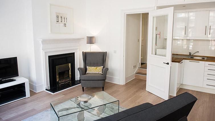 Contemporary living area at West End by Q Apartments - Citybase Apartments