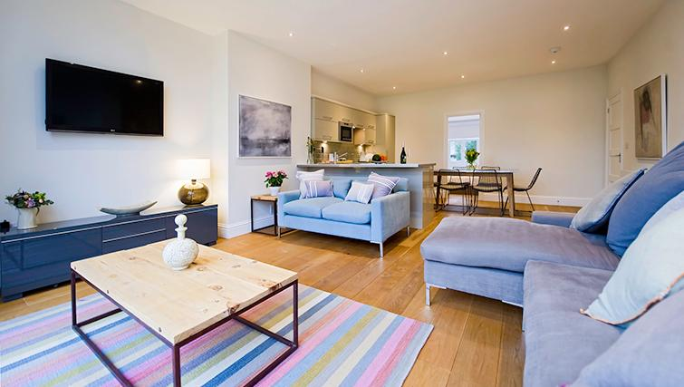Open-plan living area at No.8 Springfield and Terrace Apartments - Citybase Apartments