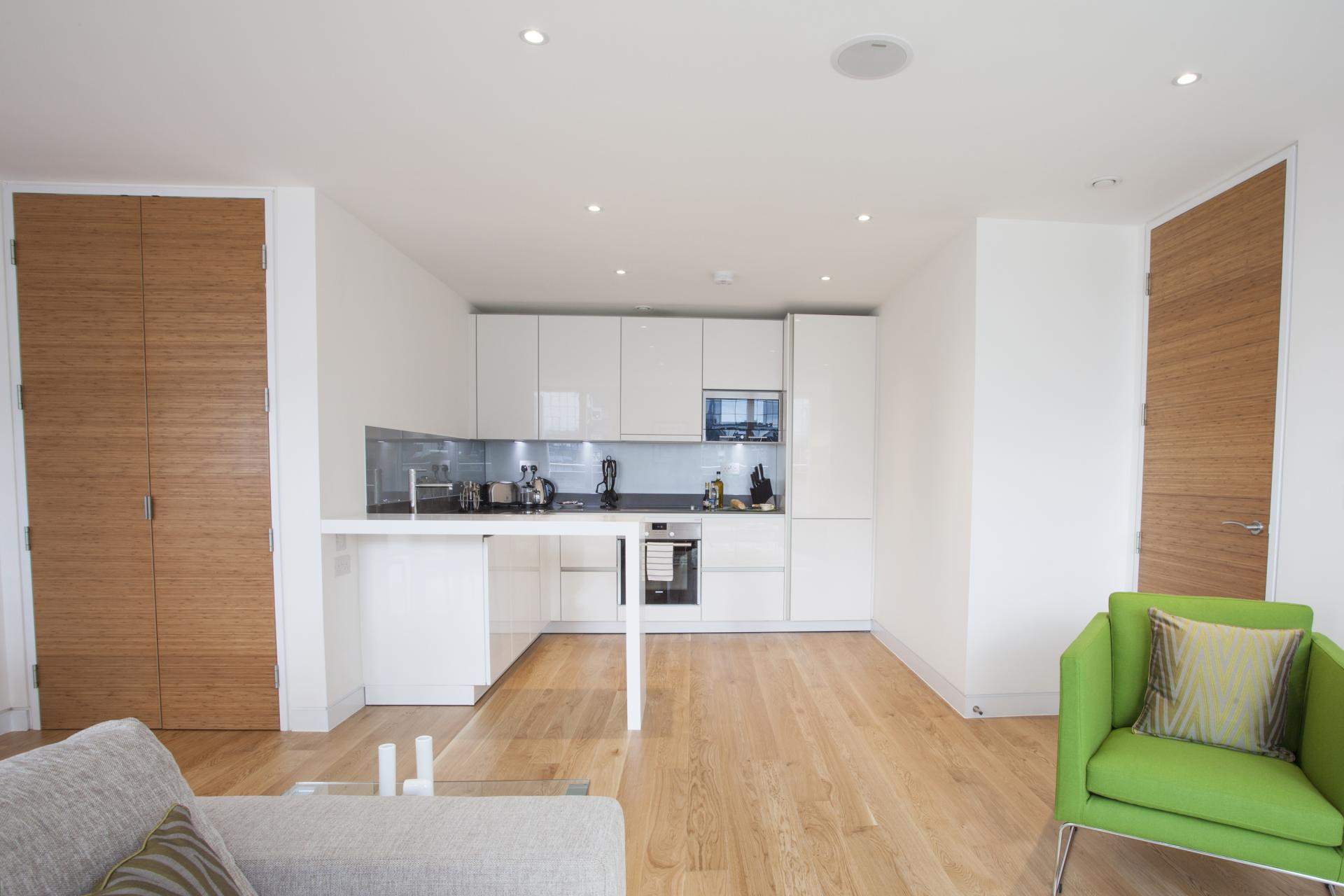 Open-plan living area at London Square Apartments - Citybase Apartments