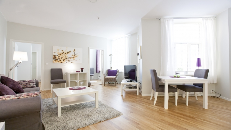 Beautiful living area in Parkveien Apartments - Citybase Apartments