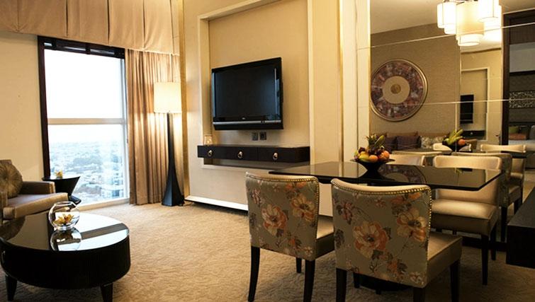 Living/dining area at Dusit Thani Dubai Apartments - Citybase Apartments