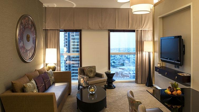 Living area at Dusit Thani Dubai Apartments - Citybase Apartments