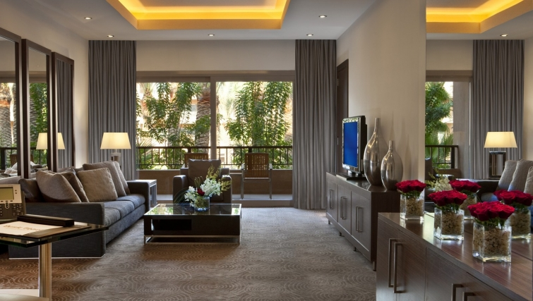 Exquisite living area at Dusit Thani LakeView Cairo Apartments - Citybase Apartments