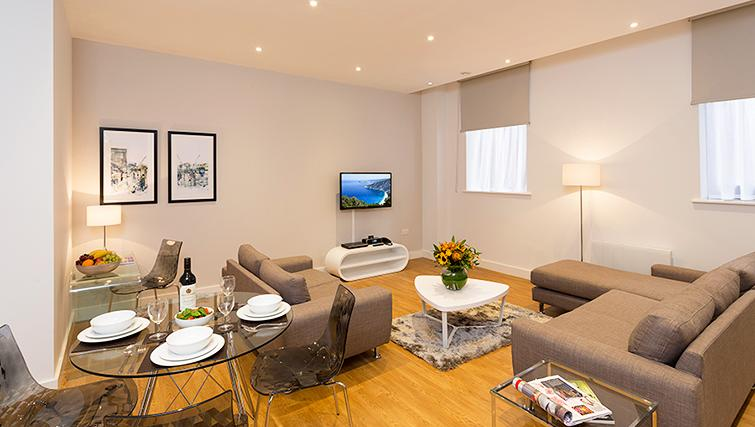 Comfortable living area in SACO Manchester - Piccadilly - Citybase Apartments