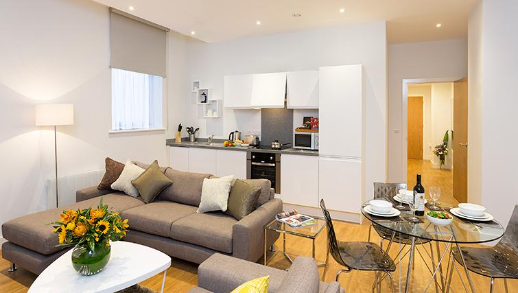 Modern kitchen/dining area in SACO Manchester - Piccadilly - Citybase Apartments