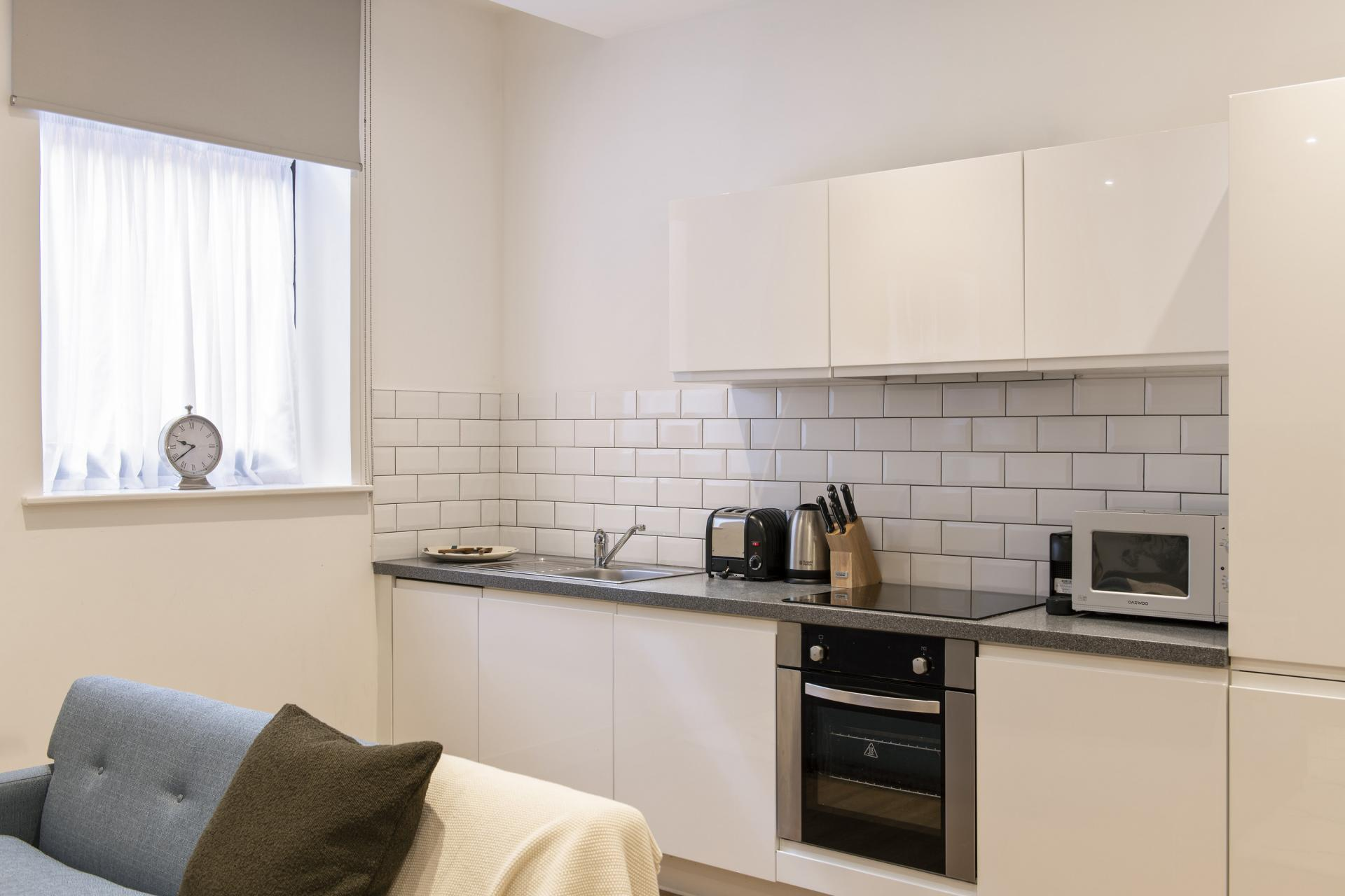 Kitchen at Cove Minshull Street, Piccadilly, Manchester - Citybase Apartments