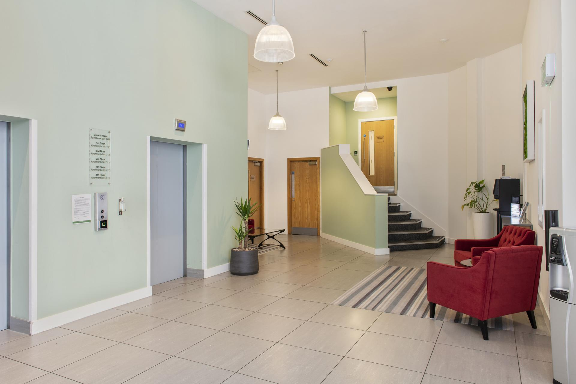 Lobby area at Cove Minshull Street, Piccadilly, Manchester - Citybase Apartments