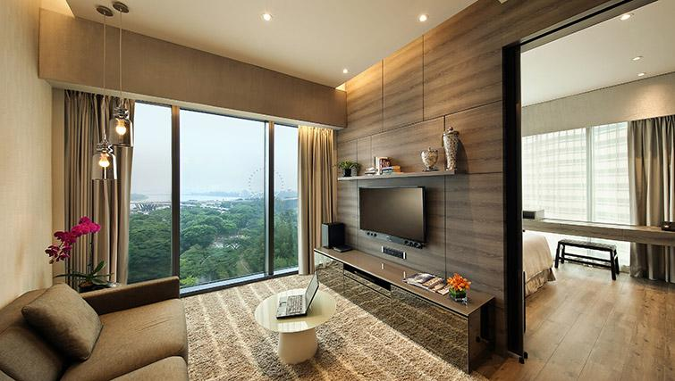 Stylish living area at Pan Pacific Serviced Suites Beach Road, Singapore - Citybase Apartments