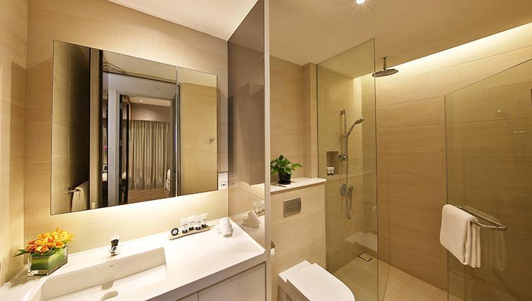 Shower room at Pan Pacific Serviced Suites Beach Road, Singapore - Citybase Apartments