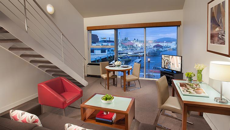 Modern living area in Somerset on the Pier Apartments - Citybase Apartments