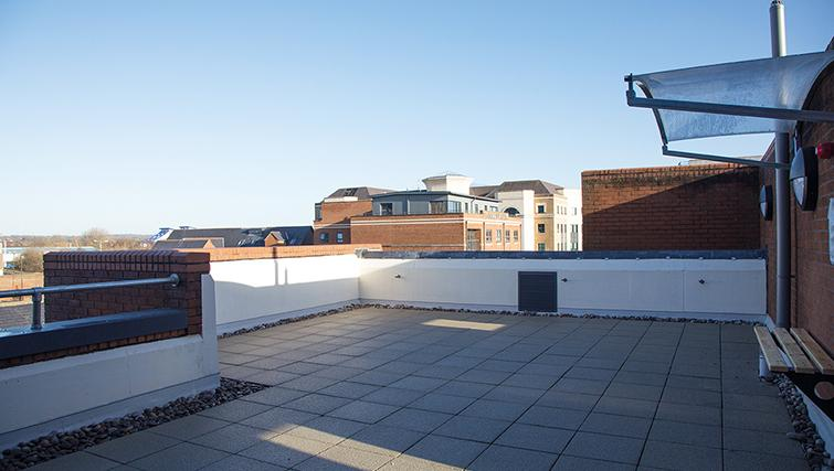 Roof terrace at 100 Kings Road Apartments - Citybase Apartments