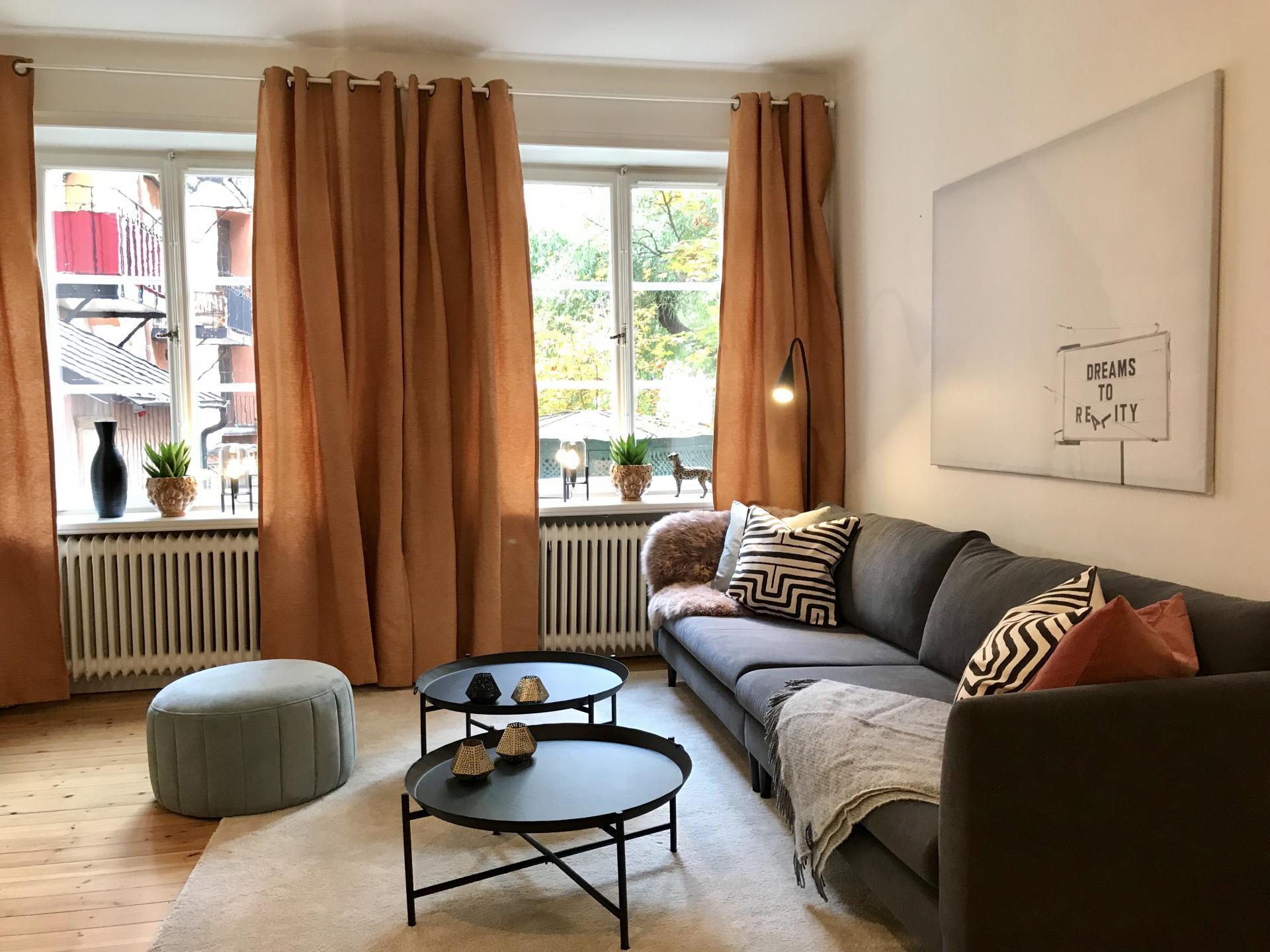 Living area at Rörstrandsgatan Apartments, Vasastan, Stockholm - Citybase Apartments
