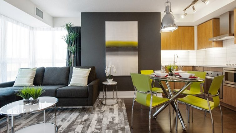 Desirable living area in 300 Front Street West Delsuites - Citybase Apartments