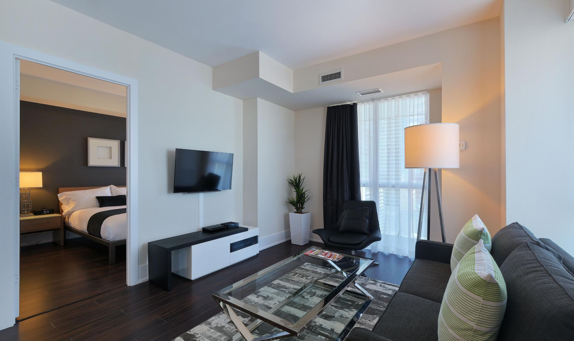 Lounge area at 300 Front Street West Delsuites - Citybase Apartments