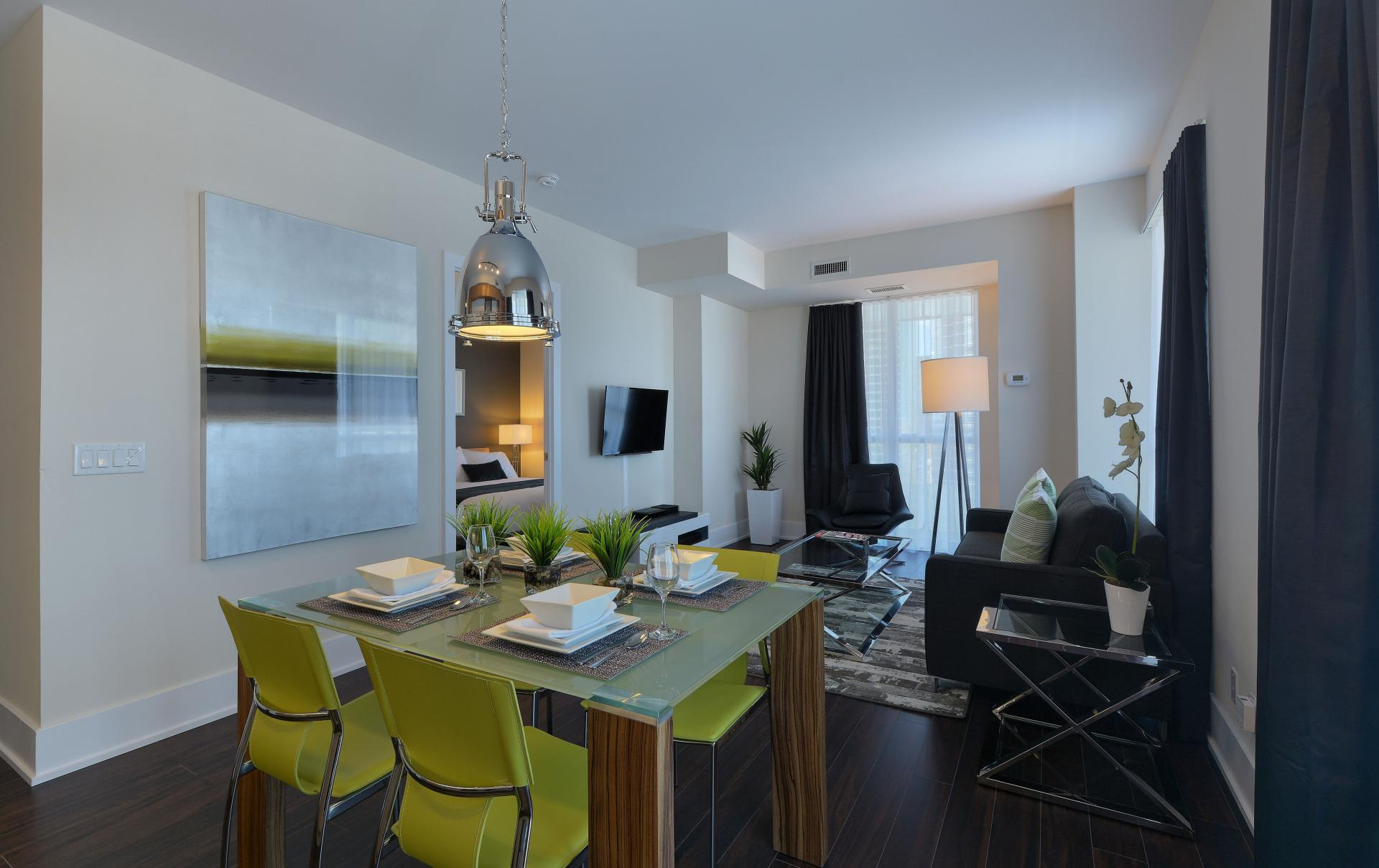 Living area at 300 Front Street West Delsuites - Citybase Apartments