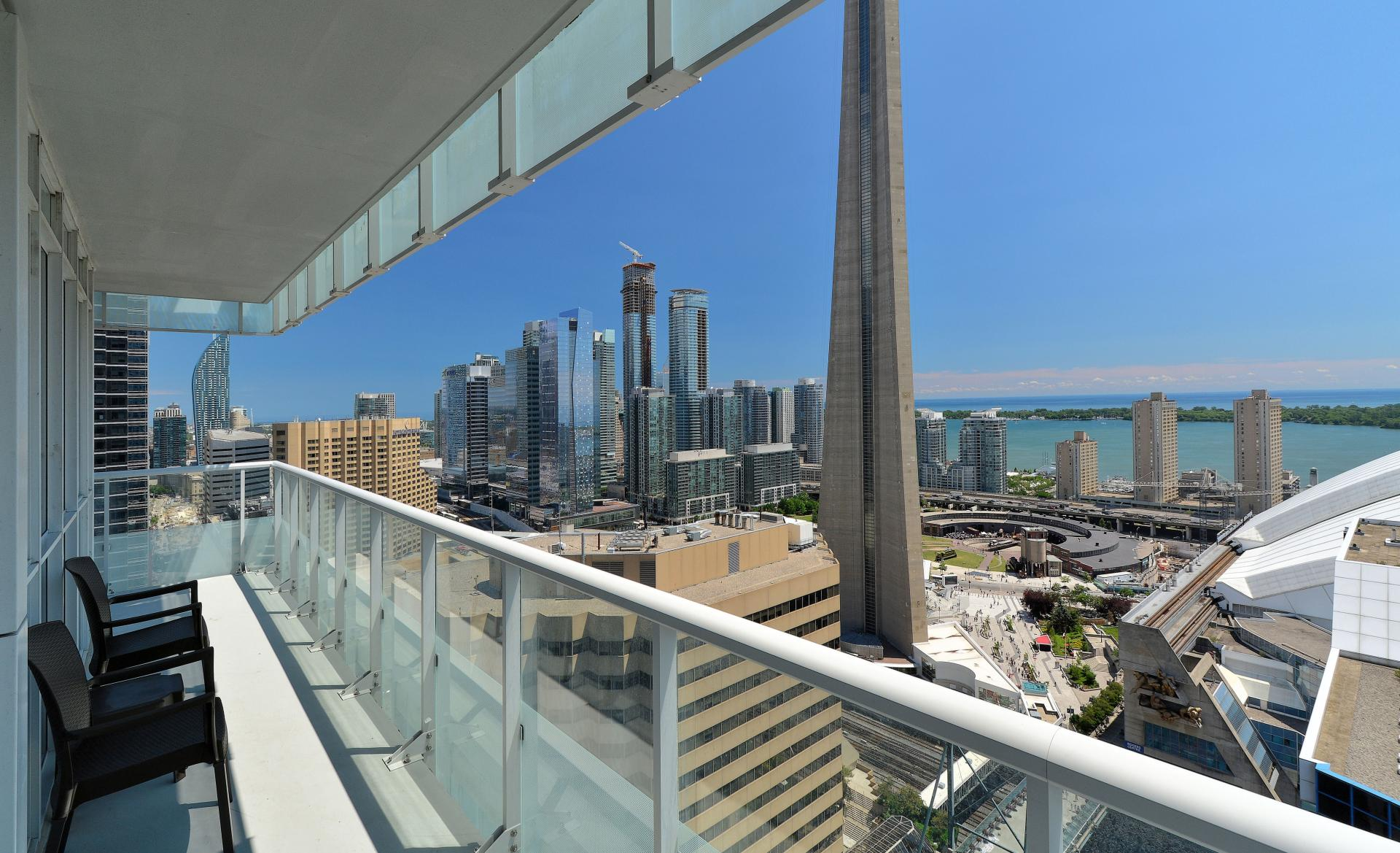Balcony views at 300 Front Street West Delsuites - Citybase Apartments