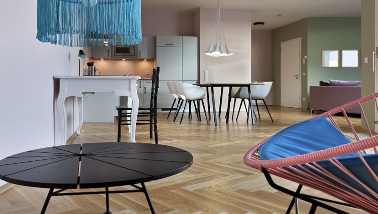 Artistic living area in The Circus Apartments - Citybase Apartments