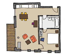 Floor plan A of The Circus Apartments - Citybase Apartments