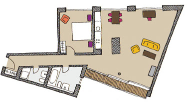 Floor plan B of The Circus Apartments - Citybase Apartments