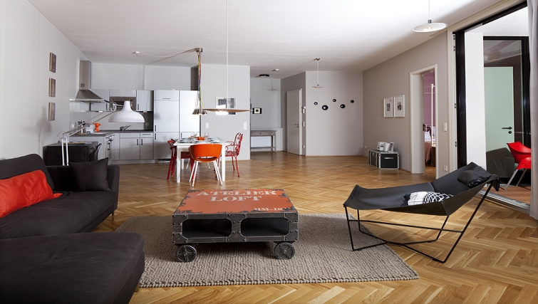 Spacious living area in The Circus Apartments - Citybase Apartments