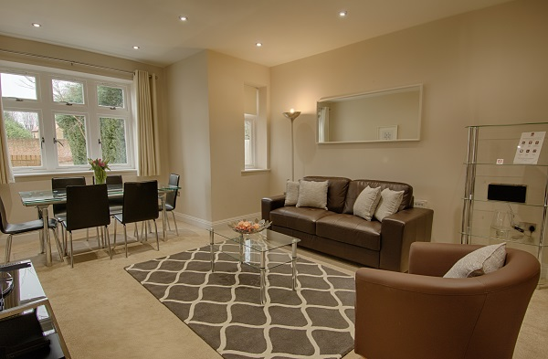 Spacious living room at Kinnaird Court Apartments - Citybase Apartments
