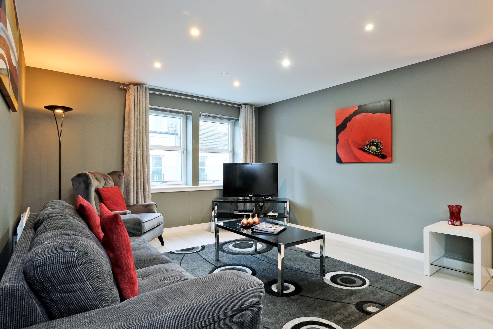 Sitting room at 54 Chapel Street Apartments, Centre, Aberdeen - Citybase Apartments