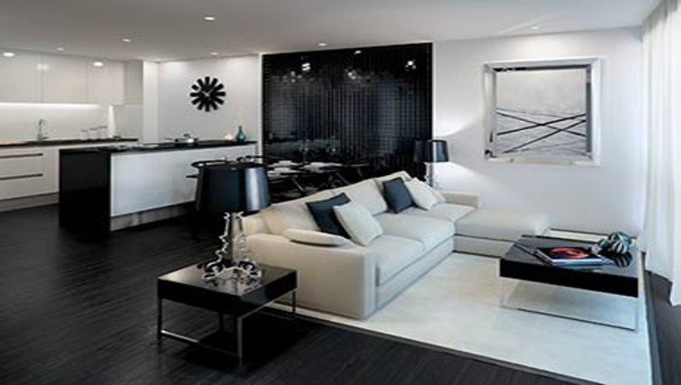 Modern living area at One Commercial Street Apartments - Citybase Apartments
