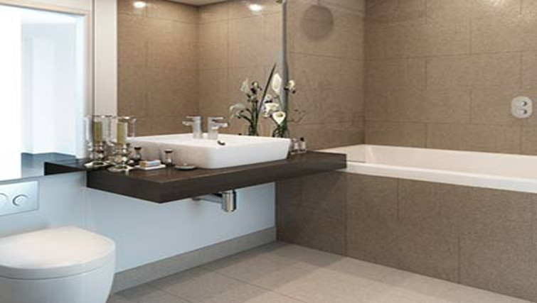 Chic bathroom at One Commercial Street Apartments - Citybase Apartments