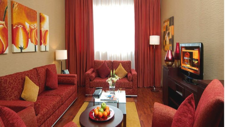 Living area at Grand Hyatt Doha Apartments - Citybase Apartments