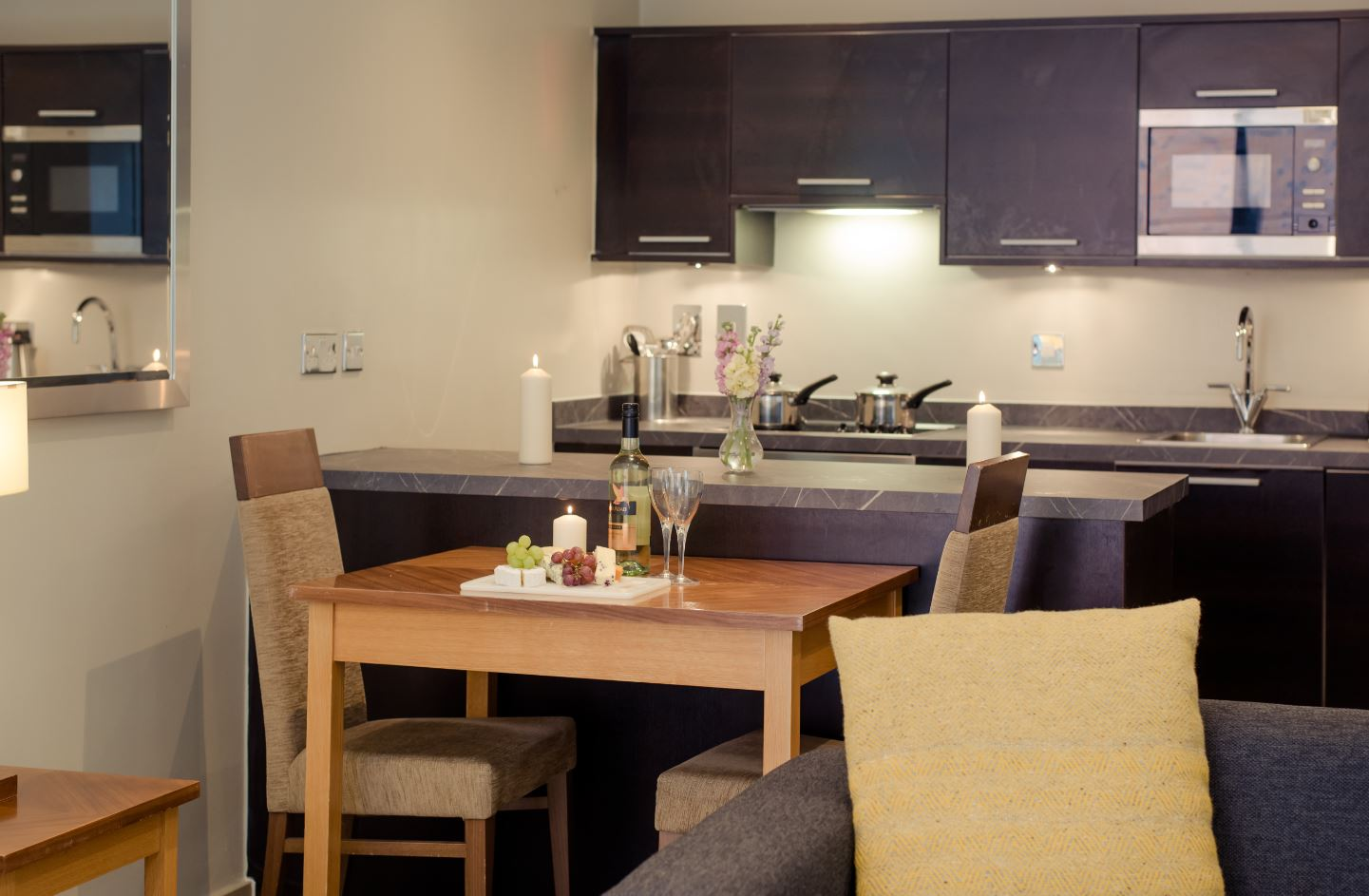 Kitchen area at Premier Suites Manchester - Citybase Apartments