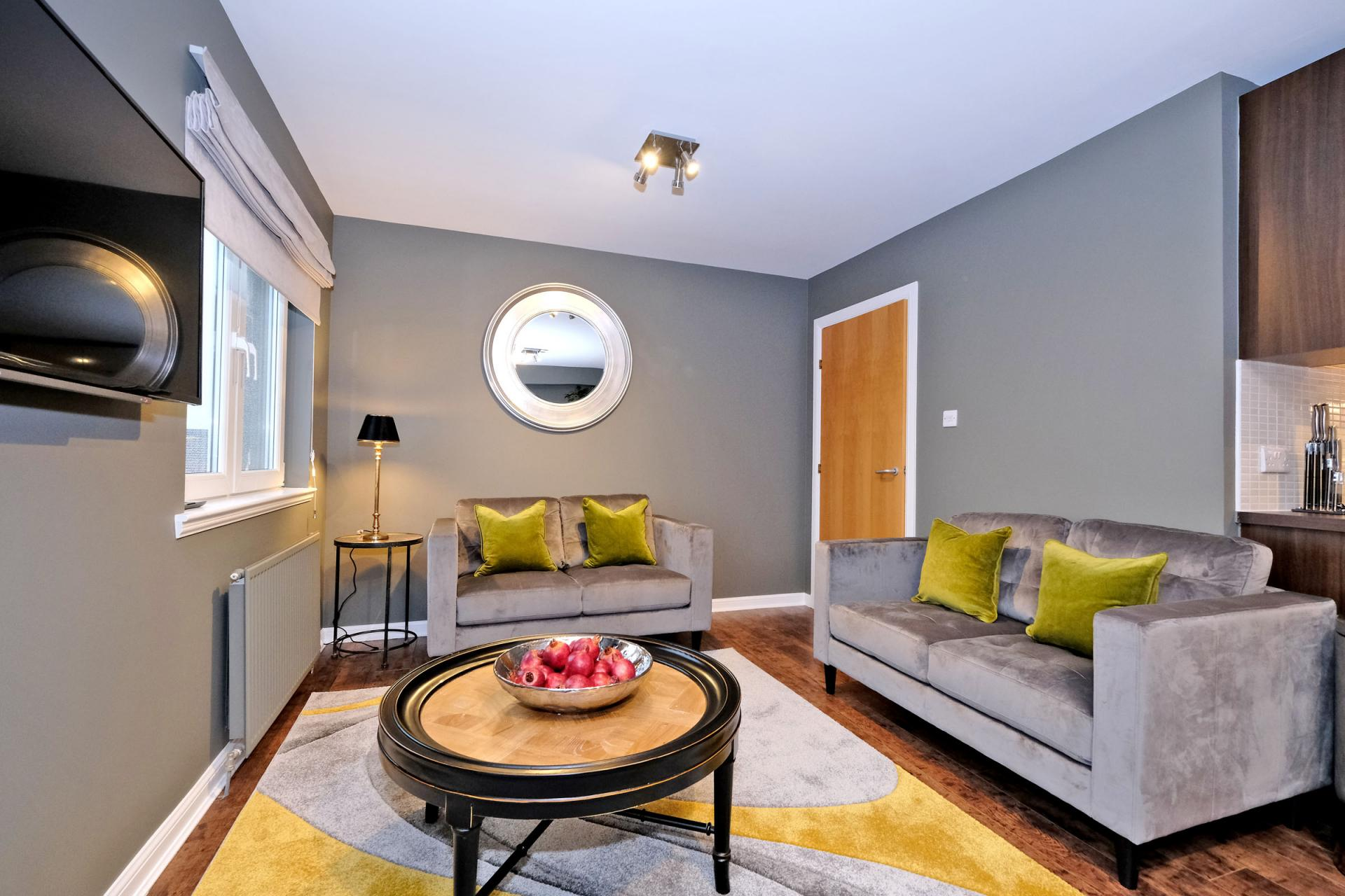 Living area at Bothwell Road Apartments - Citybase Apartments