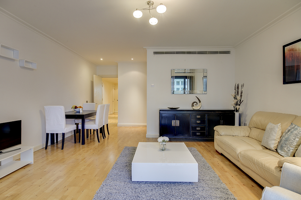Open-plan living area at Discovery Dock West - Citybase Apartments