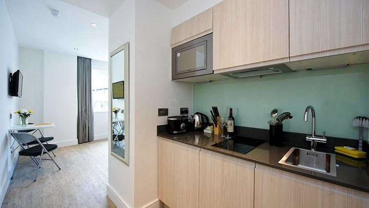 Modern kitchen at Staycity London Greenwich High Road - Citybase Apartments